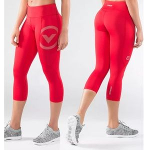 Virus Red Crop Leggings Medium